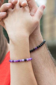 Couple Bracelets, Black Bracelets, Cord Bracelets, Long Distance Relationship Bracelets, Purple Agate, Amethyst Bracelet, Anklets, Stone Beads, Friendship Bracelets