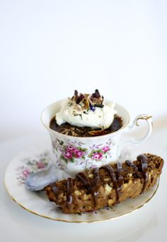 Chocolate Pots de Creme with Earl Grey Cream and Chocolate Almond Biscotti