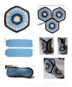 Crochet Granny Square Ideas African Flowers 47 New Ideas Diy Crochet Slippers, Crochet Diy, Crochet Boots, Crochet Motifs, Love Crochet, Crochet Crafts, Crochet Clothes, Crochet Stitches, Crochet Projects