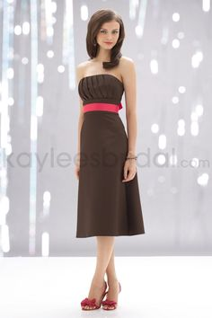 Satin Strapless Pleated Bodice Knee-Length Bridesmaid Dress I'm loving this might be sold (sleeves would be cute)