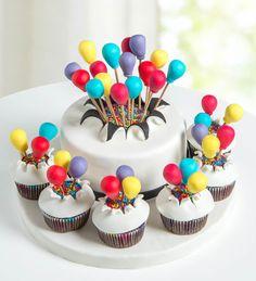 Balonlu Kutlama Tasarım Pasta ve 6'lı Cupcake