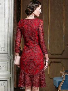 Elegant O-Neck Lace Patchwork Embroidery Mermiad Dress