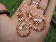 Mother of Pearl Copper Wire Hoop Earrings White by TheHempChick, $30.00