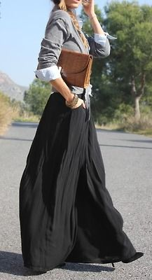maxi skirt, button up shirt, and a pull-over or cardigan