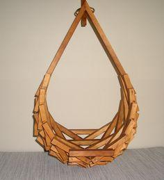 Mid Century Wooden Hanging Planter. $35.00, via Etsy.