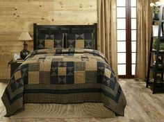 The Alexander Star King Quilt Set by Olivia's Heartland features navy blue and deep khaki tan in checks, plaids, and solids with a star motif. Colchas Country, Country Quilts, Country Decor, Country Primitive, Rustic Quilts, Primitive Quilts, Primitive Bedroom, Rustic Bedding, Modern Bedding