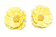 1950s Bright Sunshine Yellow Painted Enamel Flower Layered Petals Clip Earrings Spring Trend 2014 Mad Men Midcentury Mod