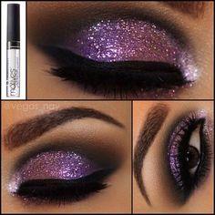 Purple glitter eye shadow