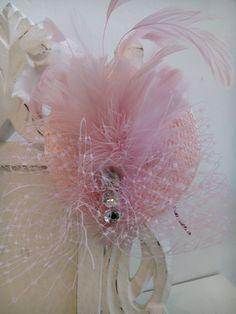 tocado de plumas rosa palo
