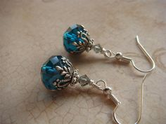 Marine Blue Crystal with Victorian Style Silver by PurplePansy333, $11.00