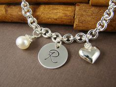 3 Personalized Bracelets for Bridesmaids - Monogram Chain Link Bracelet Sterling Silver -  Bridesmaids Jewelry - Wedding Jewelry