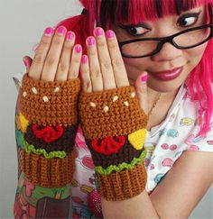 Design and crochet food-themed scarves and other cozy accessories inspired by snacks, Japanese street fashion. http://launchgrowjoy.com/twinkie-chan-inc/#