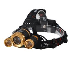 Camping Headlamps CREE 3 T6 5000 Lumen Zoomable Super Bright,Headlight Bicycle LED Flashlight,4 Modes,USB Rechargeable Batteries,Adjustable (Focus Zoom Lights, Golden) >>> Visit the image link more details.