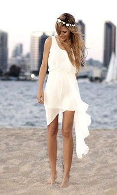 Casual Beach Wedding Dresses To Stay Cool - beach wedding ビーチ・ウエディング - Dress Short Chiffon Wedding Dress, Boho Wedding Dress, Wedding Attire, Bridal Dresses, Wedding Gowns, Short Beach Wedding Dresses, Bridesmaid Dresses, Short Reception Dresses, Bridesmaids