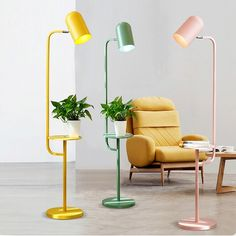 This floor lamp comes in gorgeous muted candy colours that are easy to match to, or add contrast to, most colour schemes. The shelf is conveniently positioned at sitting-level, adding useful fnctionality to this design piece. Beautiful Living Rooms, Beautiful Interiors, Living Room Lighting Design, Floor Lamp With Shelves, Side Table Lamps, Modern Floor Lamps, Luz Led, Room Lights, Light Decorations