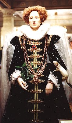 A wax figure of Queen Elizabeth I based on the Ermine Portrait.    At Madame Tussaud's, London. Photograph by Lara E. Eakins