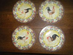 4 Piece Set of American Atelier at Home Petite Provence pattern - Rooster Plates #AmericanAtelier
