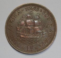 South Africa Penny, Dromedaris (ship) for sale online 60th Birthday Party, World Coins, Coin Jewelry, African Animals, My Childhood Memories, My Land, African History, Afrikaans, Silver Coins
