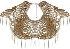 Gold Tone Pearl And Spike Collar Necklace for strapless dresses or plain tops