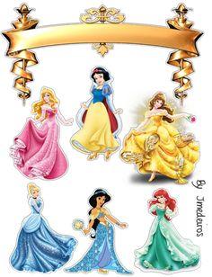 Bolo Disney Princess Crafts, Disney Princess Cupcakes, Princess Cake Toppers, Disney Princess Birthday Party, Art Disney, Disney Princess Pictures, Birthday Cake Toppers, Princess Cakes, Disney Princesses And Princes