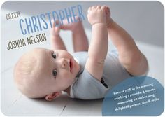 "Show your ""Pure Delight"" with this baby boy birth announcement. Add your newborn's size and weight for a personal touch."