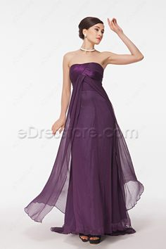 The purple maid of honor dress is made of chiffon fabric, strapless neckline, pleated satin accents the bodice, elegant A Line skirt with an overlay and train, perfect for your maids, and gives a special look for your maid of honor.