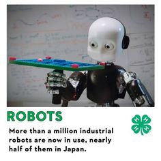 Here's an interesting fact! Did you know that more than a million industrial robots are now in use? Nearly half are in Japan!