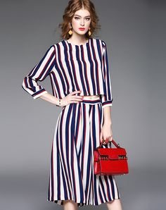 #AdoreWe #VIPme Jumpsuits & Rompers - QinPei.er Multicolor Pockets 3/4 Sleeve Stripes Two Piece Jumpsuit - AdoreWe.com
