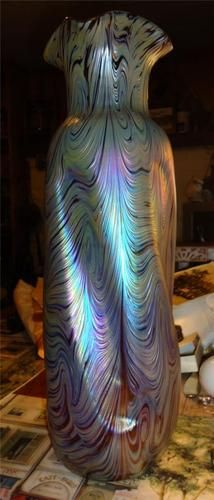 Antique Loetz Iridescent Peacock Purple, Green, Yellow And Blue Vase - Signed