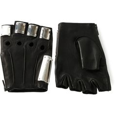 Majesty Black 'Armor' gloves ($755) ❤ liked on Polyvore featuring accessories, gloves, black, random, fingerless gloves, leather gloves and fingerless leather gloves