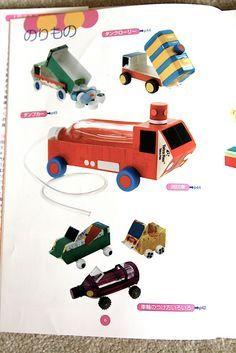 Dump Trucks, Plains, trains, cars... Crafts from milk carts and pop bottles!