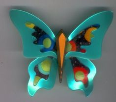 Lea Stein brooch - Stunning metallic jade and multi coloured spot large butterfly pin. His body is a mustard yellow with layering down the sides. Fabulous design and vibrant colours. A must for that black jacket or coat.