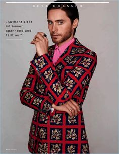 Actor Jared Leto dons a dandy red suit by Italian fashion house, Gucci.
