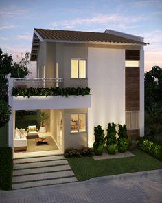 Duplex House Design, House Front Design, Small House Design, Modern House Design, Dream House Plans, Small House Plans, Modern Bungalow House, Facade House, Bungalows