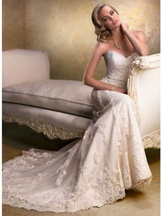A-line Sweetheart Sleeveless Lace Tulle Beading Wedding Dress