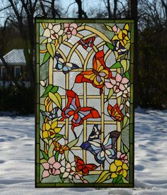 "20"" x 34"" Butterfly Flower Garden Tiffany Style Stained Glass Window Panel | eBay"