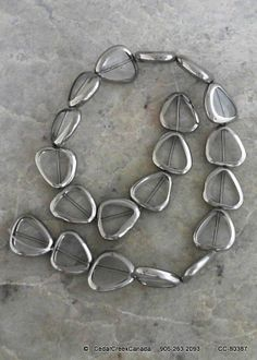 Clear Silver Plated Triangular Glass Bead Strands                                  CC-80387