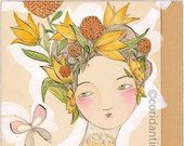 watercolor of a woman in floral crown - 8 x 8 inch archival print - beautiful on the inside by cori dantini
