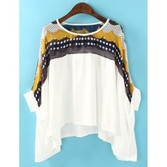 Stylish Round Collar Bat-Wing Sleeve Print Color Block Irregular Hem Women's T-shirt, AS THE PICTURE, ONE SIZE in Tees & T-Shirts | DressLily.com