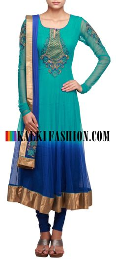 Buy Online from the link below. We ship worldwide (Free Shipping over US$100)  http://www.kalkifashion.com/shaded-saree-in-tone-of-blue-embellished-in-resham-and-thread-only-on-kaki.html