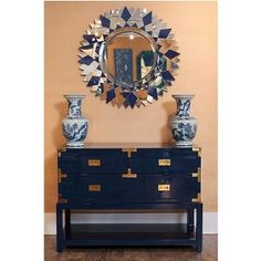 Interior HomeScapes offers the Antonia Mirror, Blue by Bungalow Visit our online store to order your Bungalow 5 products today. White Mirror, Blue Mirrors, Mirror Mirror, San Diego, Blue And White Vase, White Vases, Campaign Furniture, Paint Color Palettes, Bungalow 5