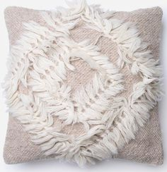 Beige Cream Fringe Pillow