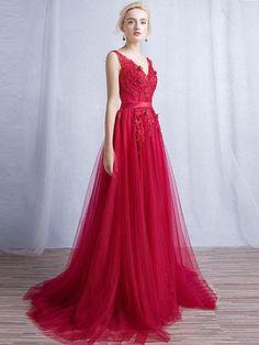 2018 new fashions Burgundy Prom Dresses A-line Short Train V-neck Appliques Prom Dress/Evening Dress H0031