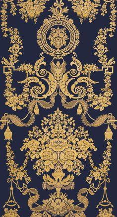 Baroque Pattern, Pattern Art, Pattern Design, Print Design, Art Deco Wallpaper, Black Wallpaper, Wallpaper Backgrounds, Wallpapers, Luxury Wallpaper