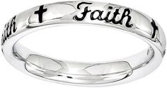 JCPenney FINE JEWELRY Personally Stackable Sterling Silver Black Enamel Faith Ring
