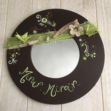 Déco miroir, brun et vert, nature, origami, par Dékaflore