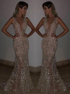 Blingbling Sequined Mermaid Evening Dress - 2020 New Prom Dresses Fashion - Fashion Of The Year Backless Prom Dresses, Grad Dresses, Ball Dresses, Homecoming Dresses, Wedding Dresses, Sparkly Prom Dresses, Ball Gowns, Split Prom Dresses, Long Fitted Prom Dresses