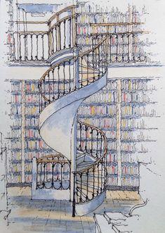 Leeds Library .. spiral stair ~ sketch ~ John Edwards