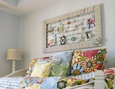 repurposed crib spring memo board