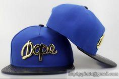 DOPE Snapbacks Hats Blue Golden Iron Logo Brim Leather